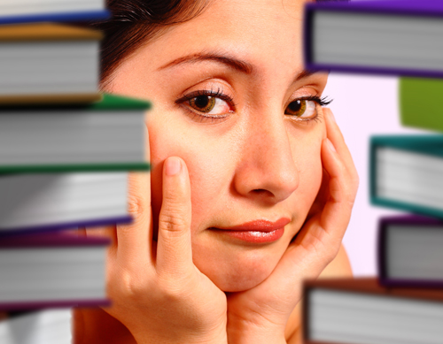 Student Worrying About Many Books To Read